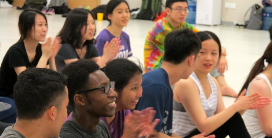 Dance professor Aly Rose prepped students for two high-energy routines on March 31 which featured modern dance, jazz and hip-hop choreography. (Photo by: NYU Shanghai)