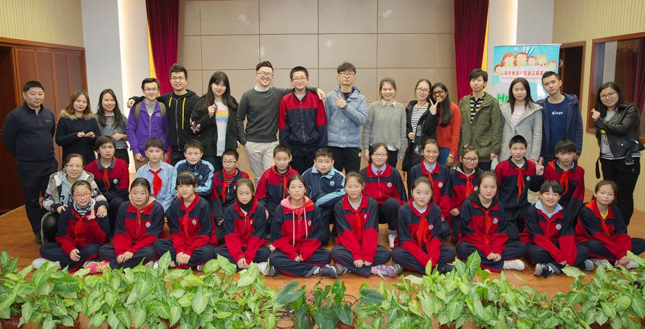 In the spirit of Thanksgiving, NYU Shanghai's Deans' Service Scholars spent one day with four different charities making a difference to the lives of disadvantaged children and supporting the environment on November 18. Scholars from Sunrise Cambodia and PEER group went to the Jinding School, the largest public school for migrant children in Shanghai, to give English lessons and learn from the students about their different backgrounds.