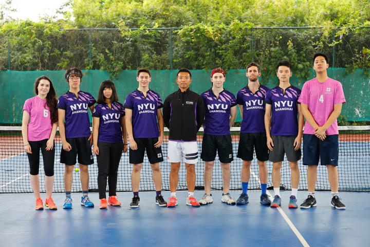 In the tennis competition, NYU Shanghai fielded competitors in men's singles, women's singles, men's doubles, women's doubles, and mixed doubles. The team defeated  XJTLU and UNNC, 4-1 and 5-0 respectively, bringing the first place trophy back to Century Avenue.  (from left to right in the picture: Aleksandra Salacinska '21, Xinchen Hu 胡昕宸'22, Handan Bao 包涵丹 '22, Cyrus Guo '22, Jian Jiang - Coach, Dylan Polley '21, Eduardo Scheuren '21, Zhiheng Yang 杨知恒 '22, Vincent Wu '21)